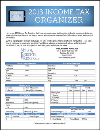 2013 Income Tax Organizer
